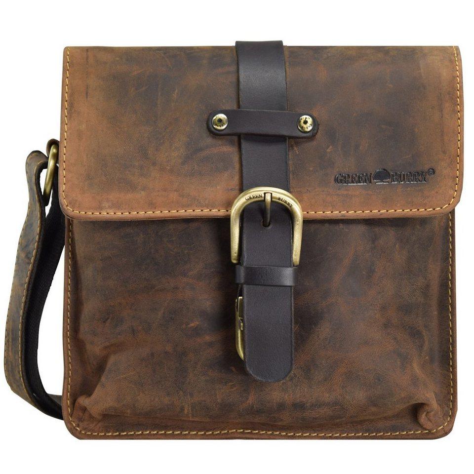 Greenburry Vintage Umhängetasche Leder 22 cm in brown