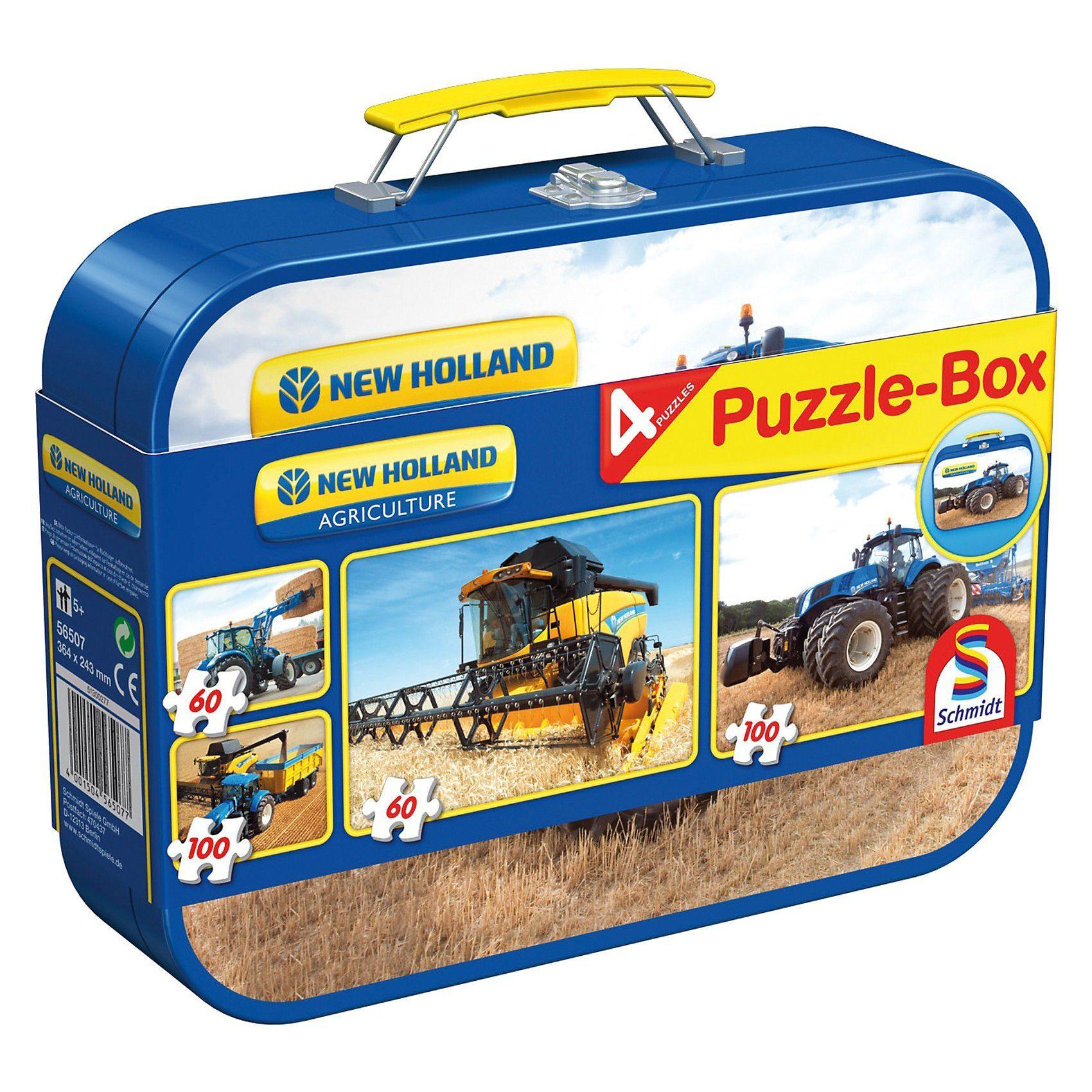 Schmidt Spiele New Holland, Puzzle-Box 2x60, 2x100 Teile im Metallkoffer