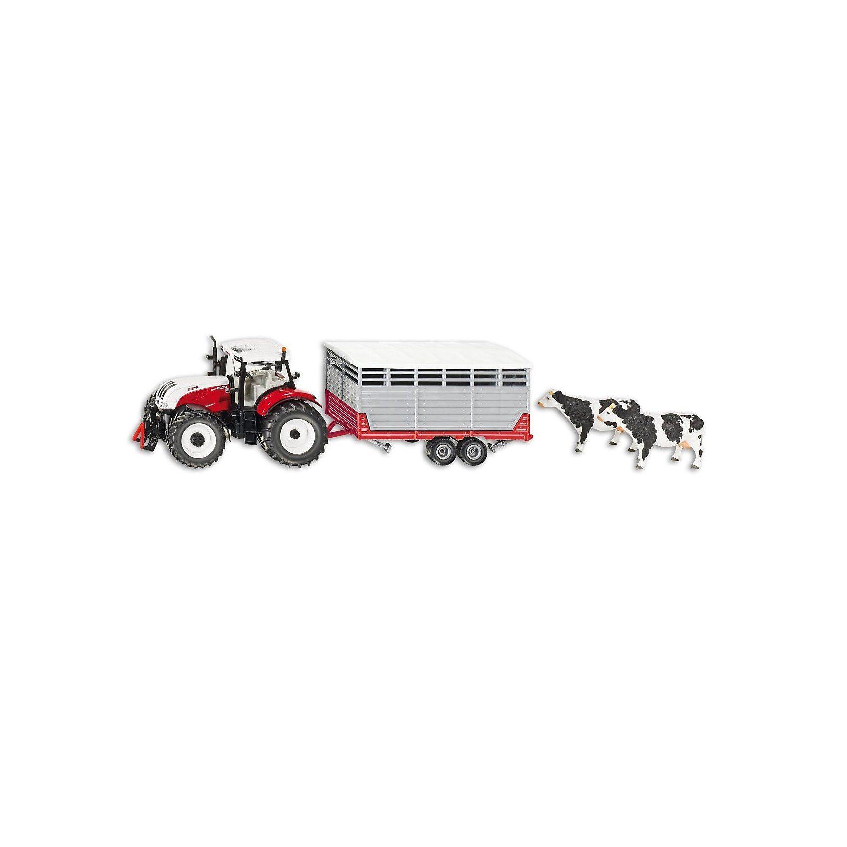 SIKU Farmer 3870 Steyr mit Viehanhänger 1:32