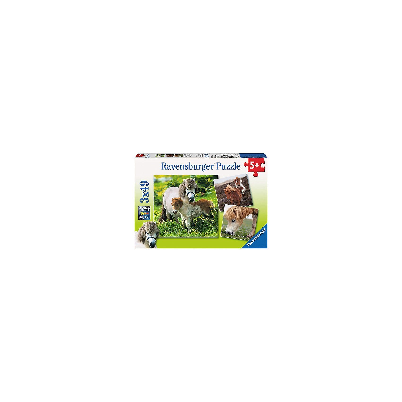 Ravensburger Puzzleset 3 x 49 Teile - Freundliche Ponys