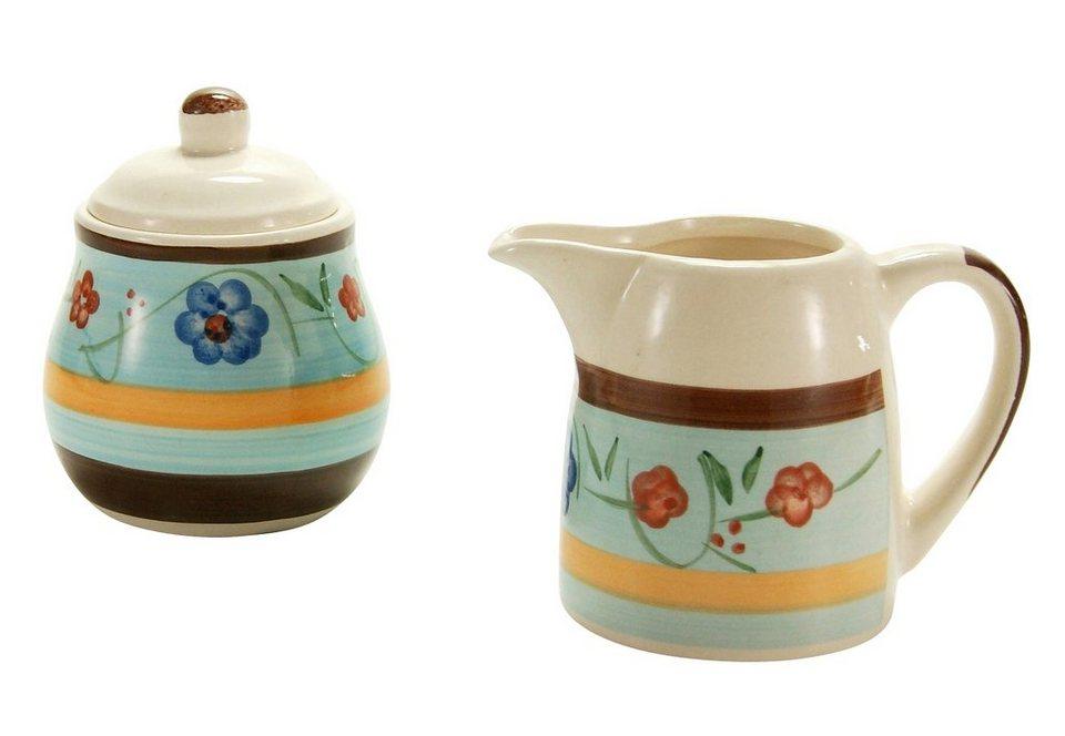 Creatable Steingut Milch-/Zuckerset, »Flower Serenade« (2-tlg.) in blau-bunt