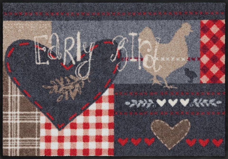 Fußmatte, Salonloewe, »Hello Early Bird«, waschbar, In- und Outdoor mit rutschhemmender Beschichtung in Grau