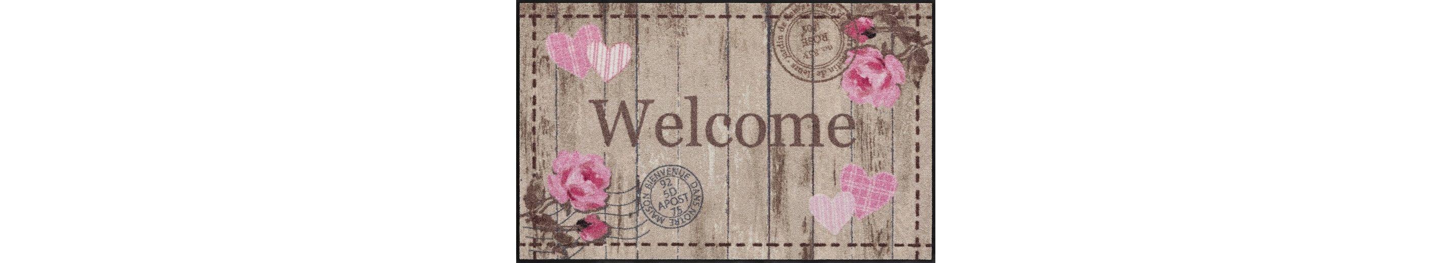 Läufer, Salonloewe, »Welcome Roses«, waschbar, In- und Outdoor mit rutschhemmender Beschichtung
