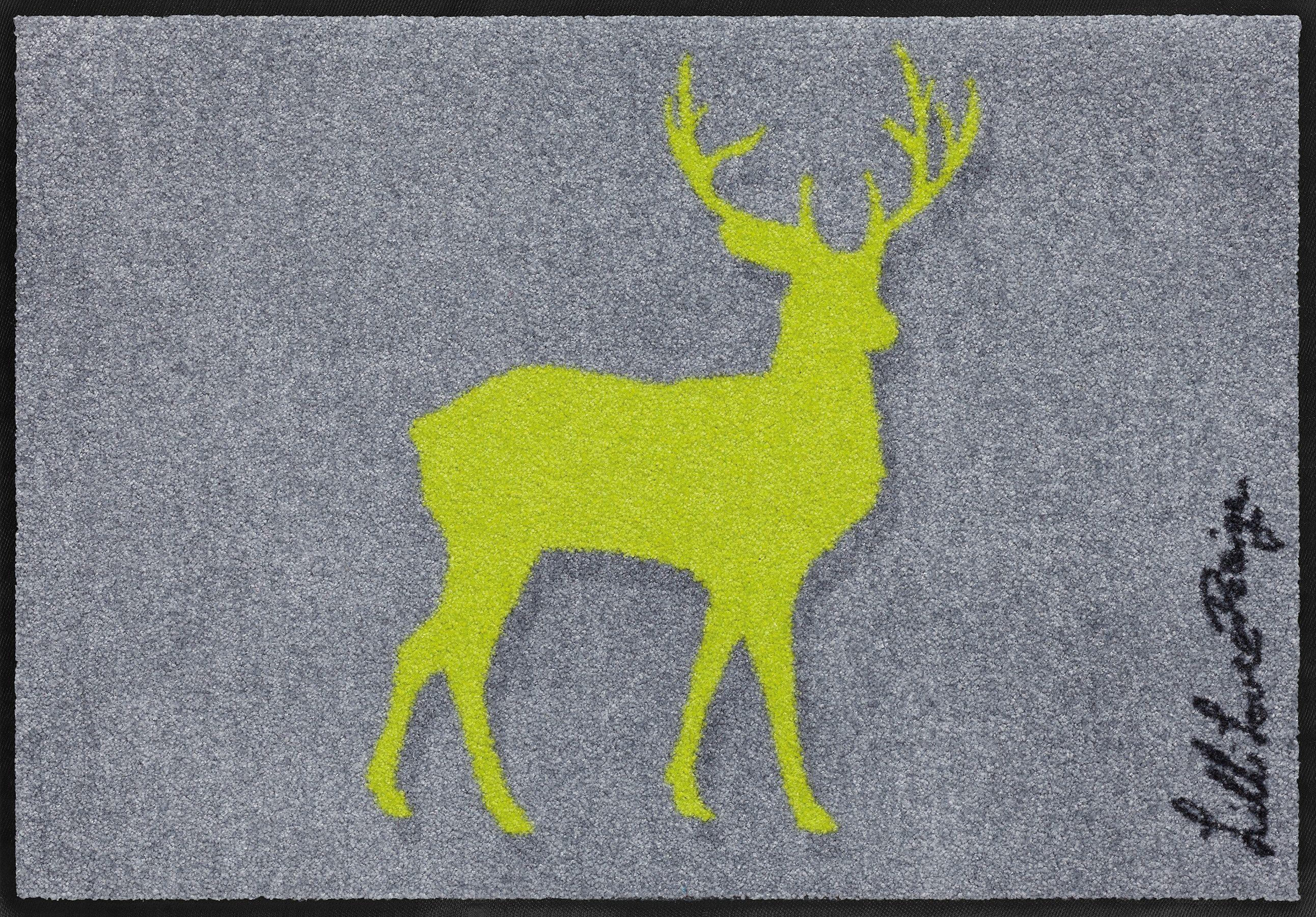 Fußmatte, Salonloewe, »Neonhirsch«, waschbar, In- und Outdoor mit rutschhemmender Beschichtung