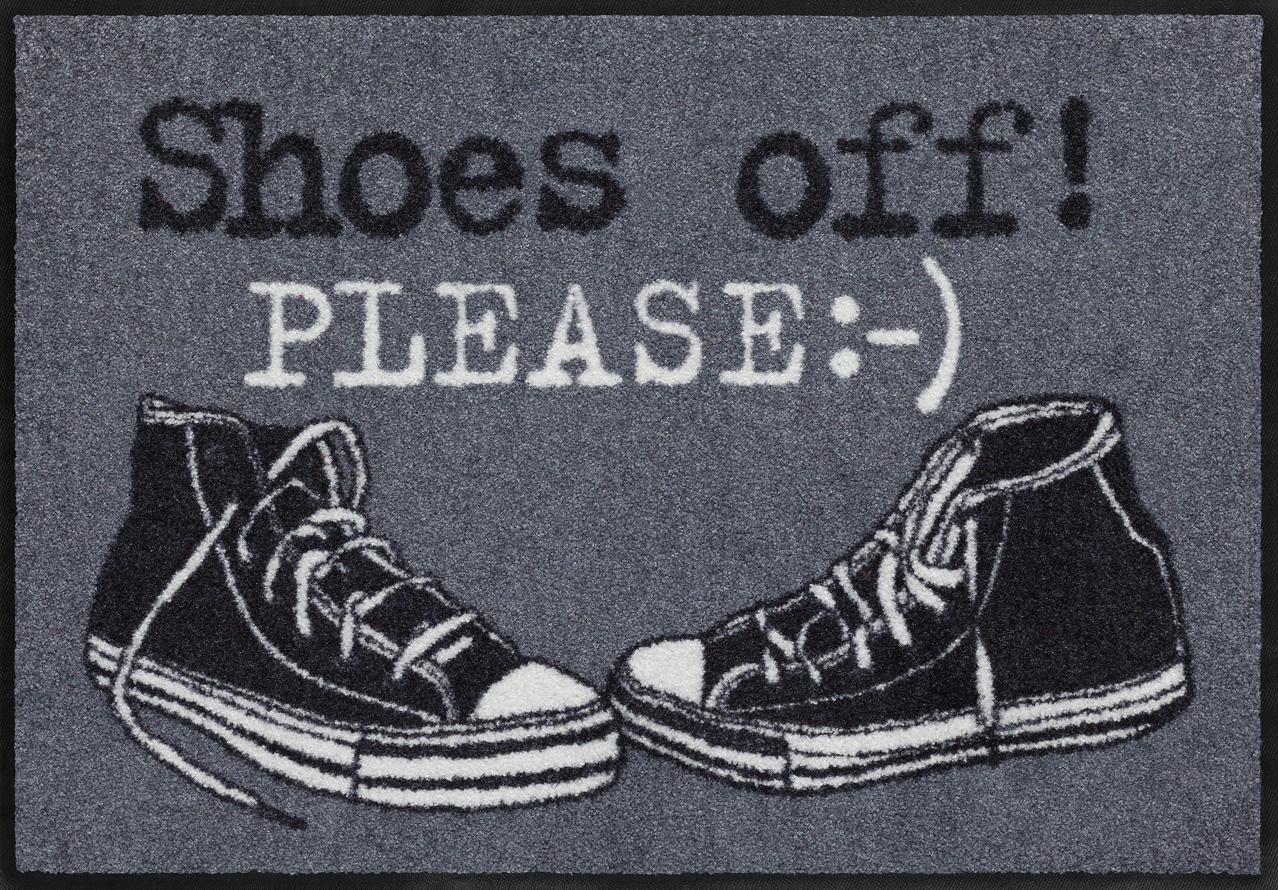 Fußmatte »Shoes off please«, Salonloewe, rechteckig, Höhe 7 mm, waschbar, In- und Outdoor mit rutschhemmender Beschichtung