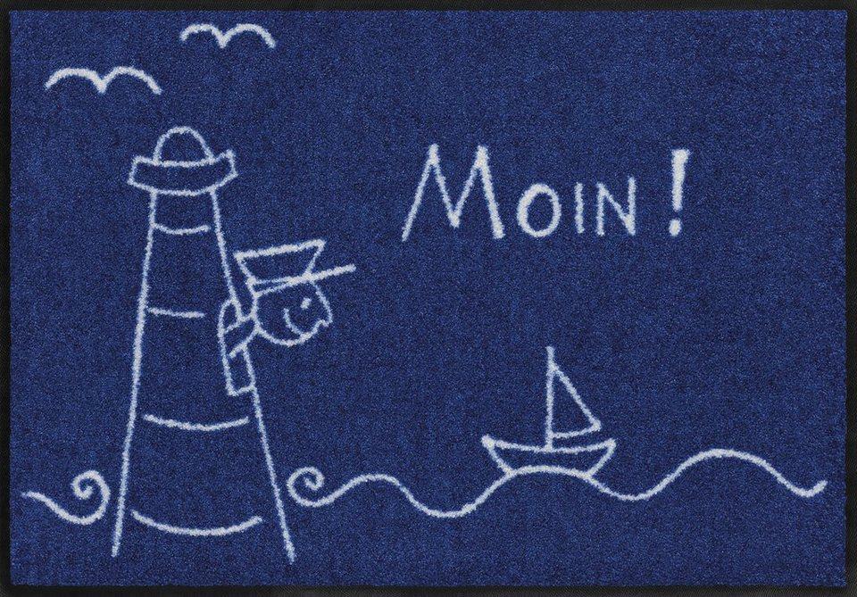 Fußmatte, Salonloewe, »Lighthouse«, waschbar, In- und Outdoor mit rutschhemmender Beschichtung in Blau