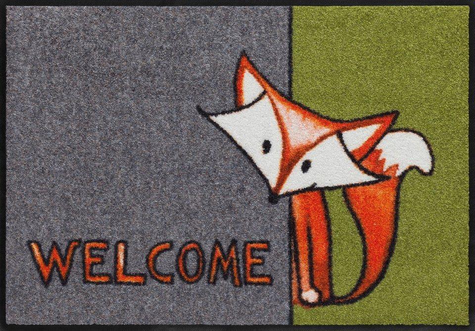 Fußmatte, Salonloewe, »Willkommen Fuchs«, waschbar, In- und Outdoor mit rutschhemmender Beschichtung in Grau