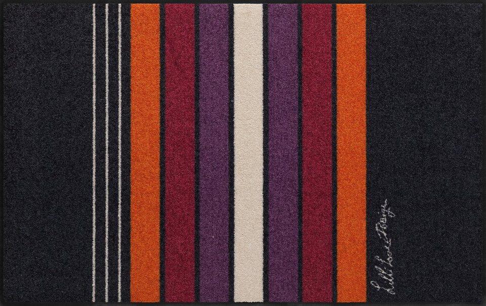 Läufer, Salonloewe, »Block Stripes«, waschbar, In- und Outdoor mit rutschhemmender Beschichtung in Schwarz