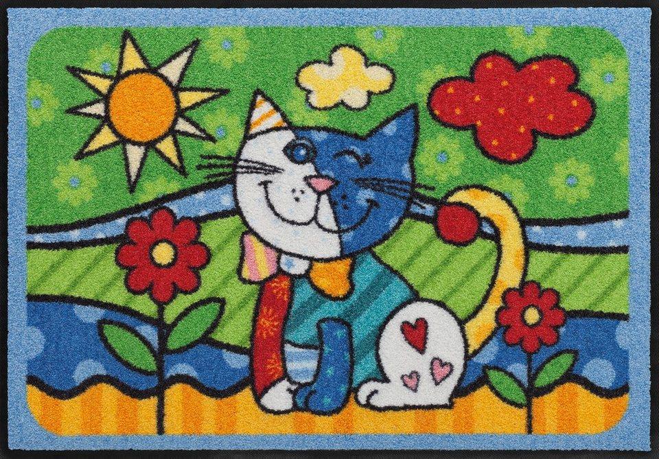 Fußmatte, Salonloewe, »Pop Art Cat«, waschbar, In- und Outdoor mit rutschhemmender Beschichtung in Bunt