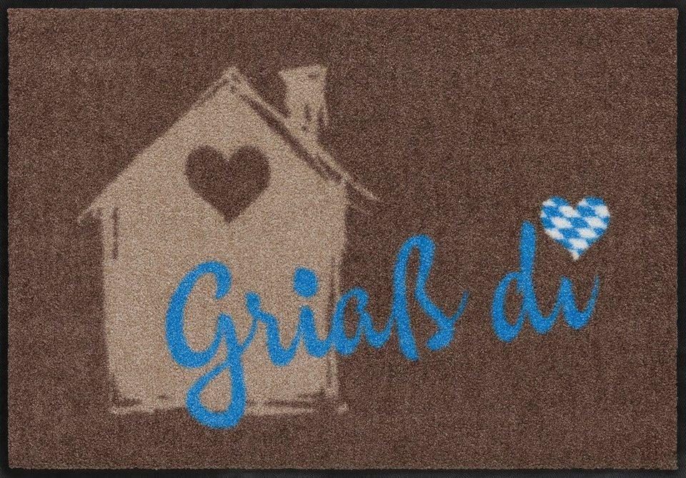 Fußmatte, Salonloewe, »Griaß Di«, waschbar, In- und Outdoor mit rutschhemmender Beschichtung in Braun