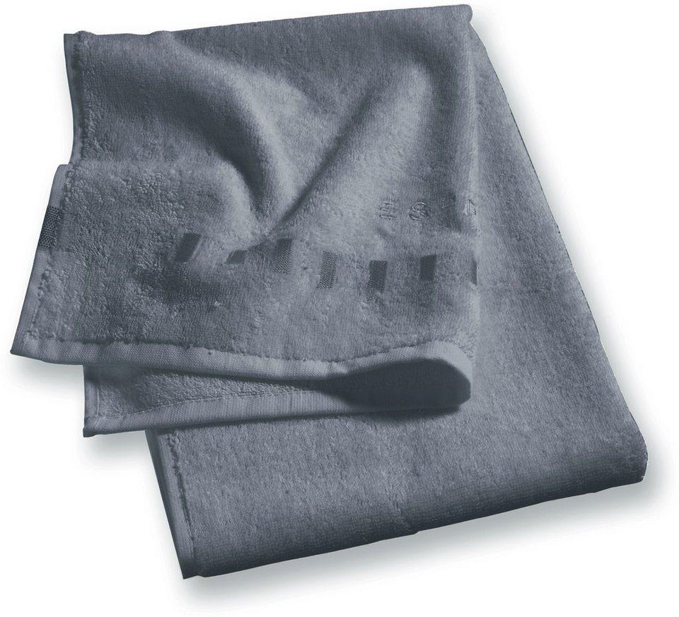 Badetuch, Esprit, »Solid«, mit Bordüre aus Rechtecken in anthrazit