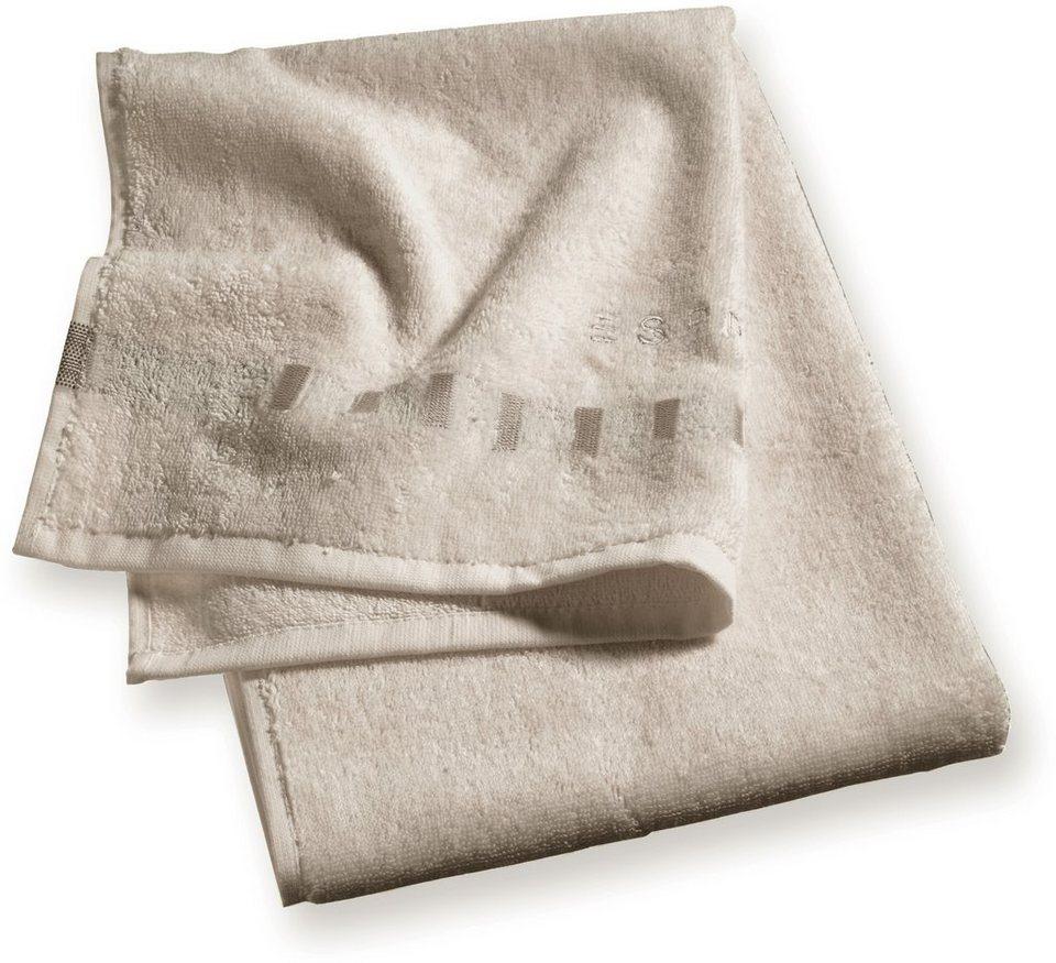 Handtücher, Esprit, »Solid«, mit Bordüre aus Rechtecken in beige