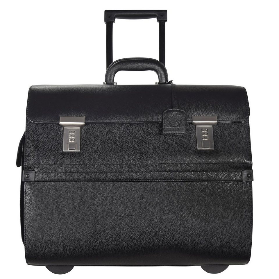 Leonhard Heyden Leonhard Heyden Hamburg Businesstrolley Leder 45 cm Laptopfach in schwarz