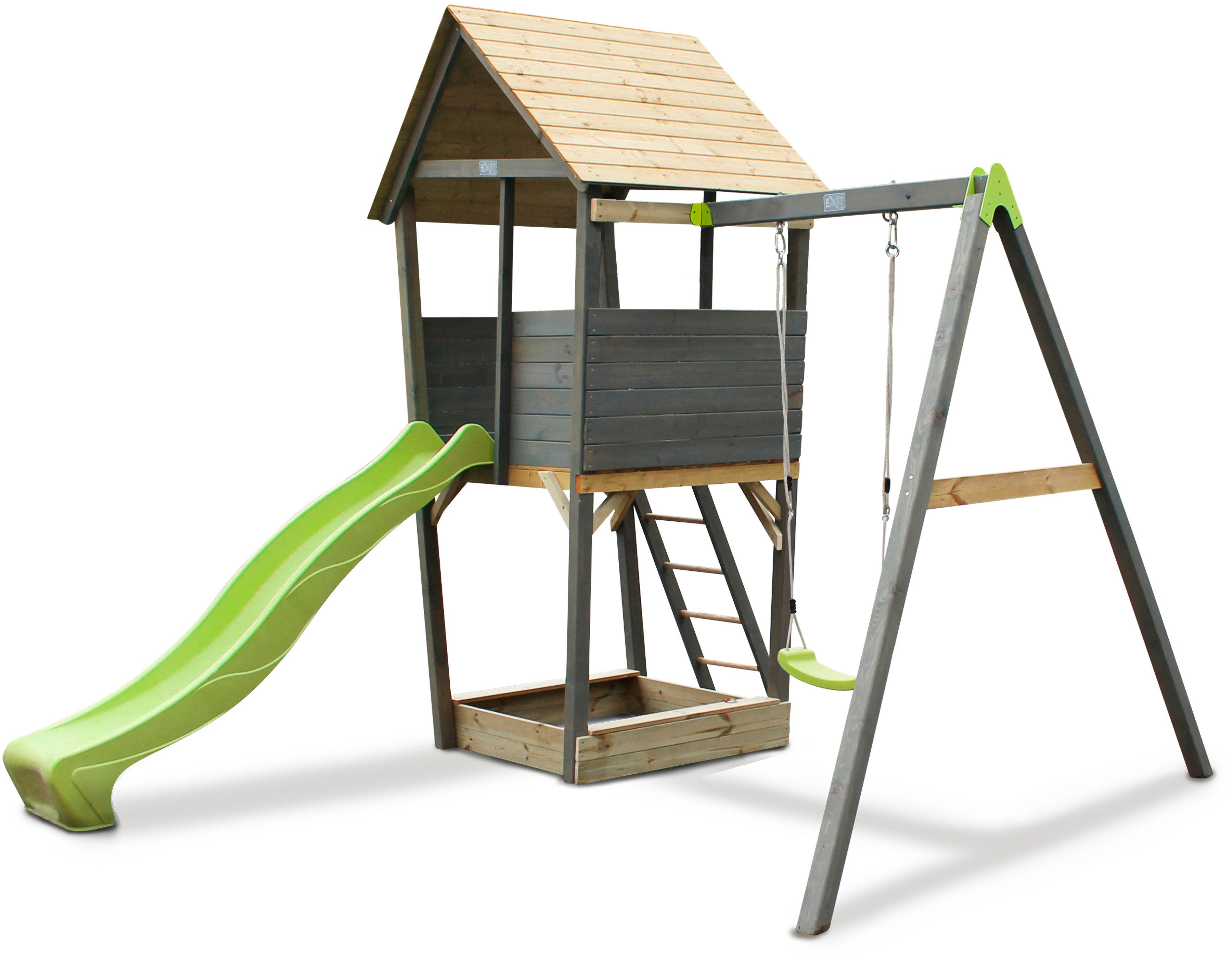 EXIT Spielturm »Aksent«, B/H/T: 320/296/323 cm, Einzelschaukel + Rutsche