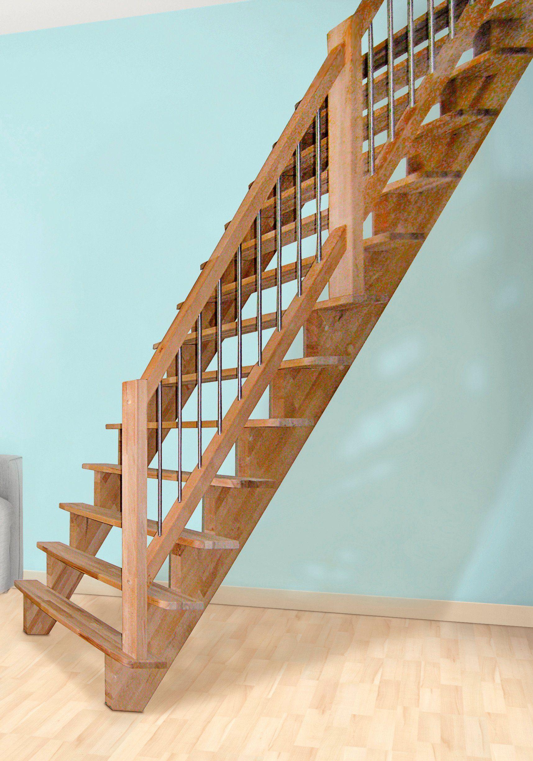 STARWOOD Massivholztreppe »Lindos«, B: 80 cm, gerade Ausführung, Geländer rechts