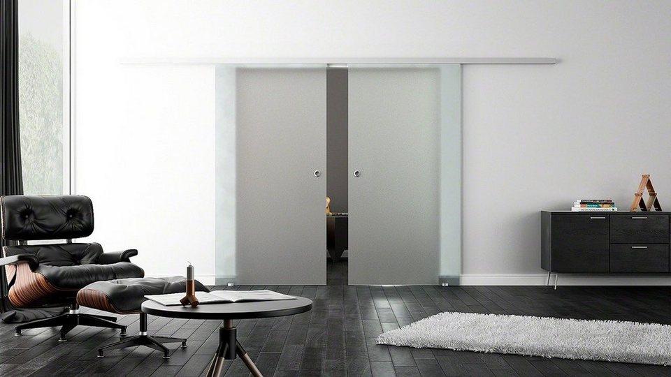 Doppel-Glasschiebetür »Softclose-Automatik Satiniert« mit Muschelgriff in weiß