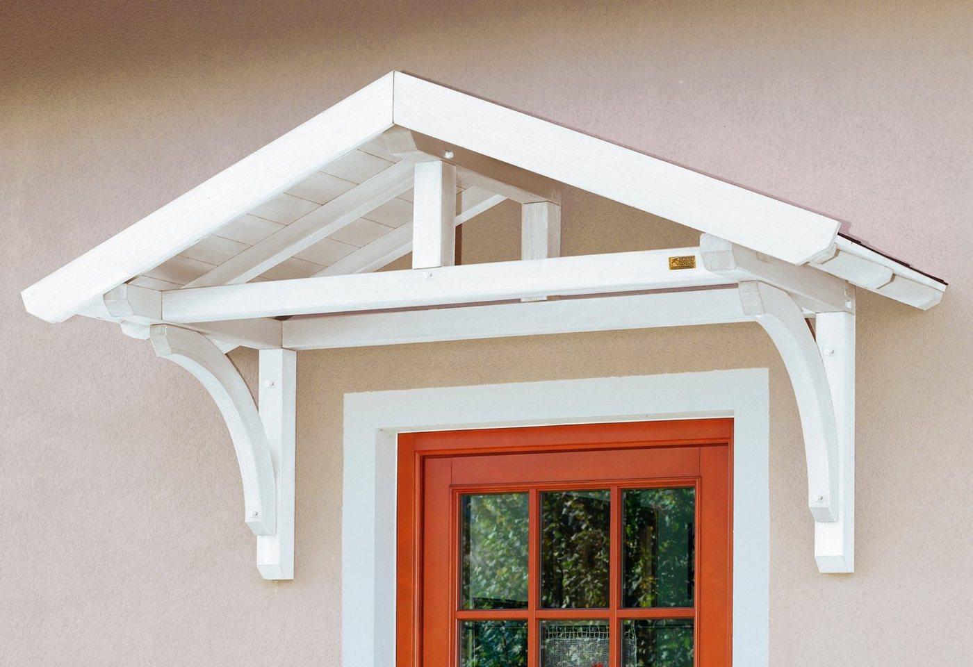 Skanholz Vordach-Set »Stettin«, BxT: 180x80 cm, inkl. schwarzen Dachschindeln | Baumarkt > Modernisieren und Baün > Vordächer | Weiß | Skanholz