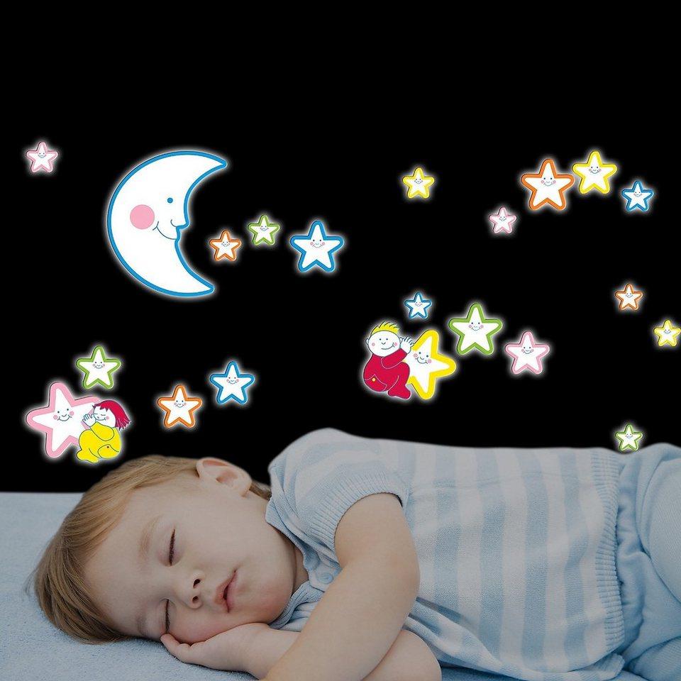 Wandsticker Leuchtsterne, Smiling Stars, 21-tlg. in mehrfarbig