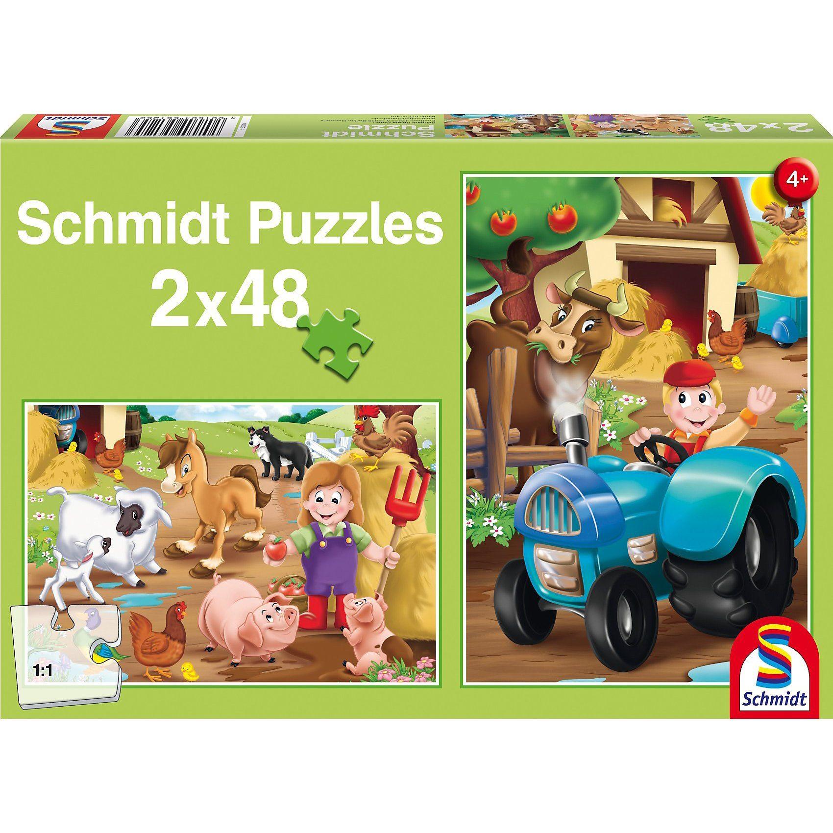 Schmidt Spiele Bauernhoftiere, 2 x 48 Teile