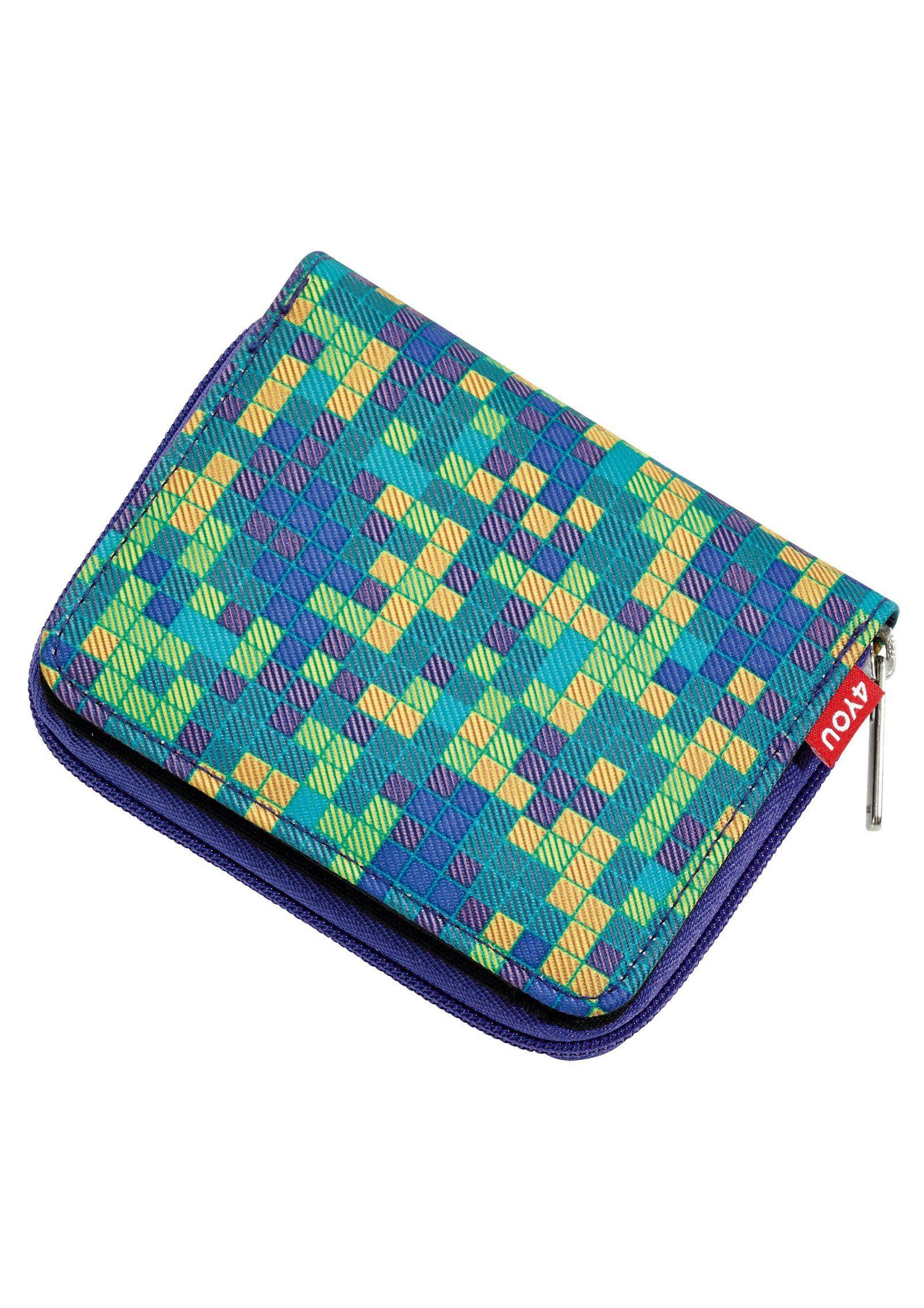 4YOU Geldbörse mit Reißverschluss, Pixel Smaragd, »Zipper Wallet«