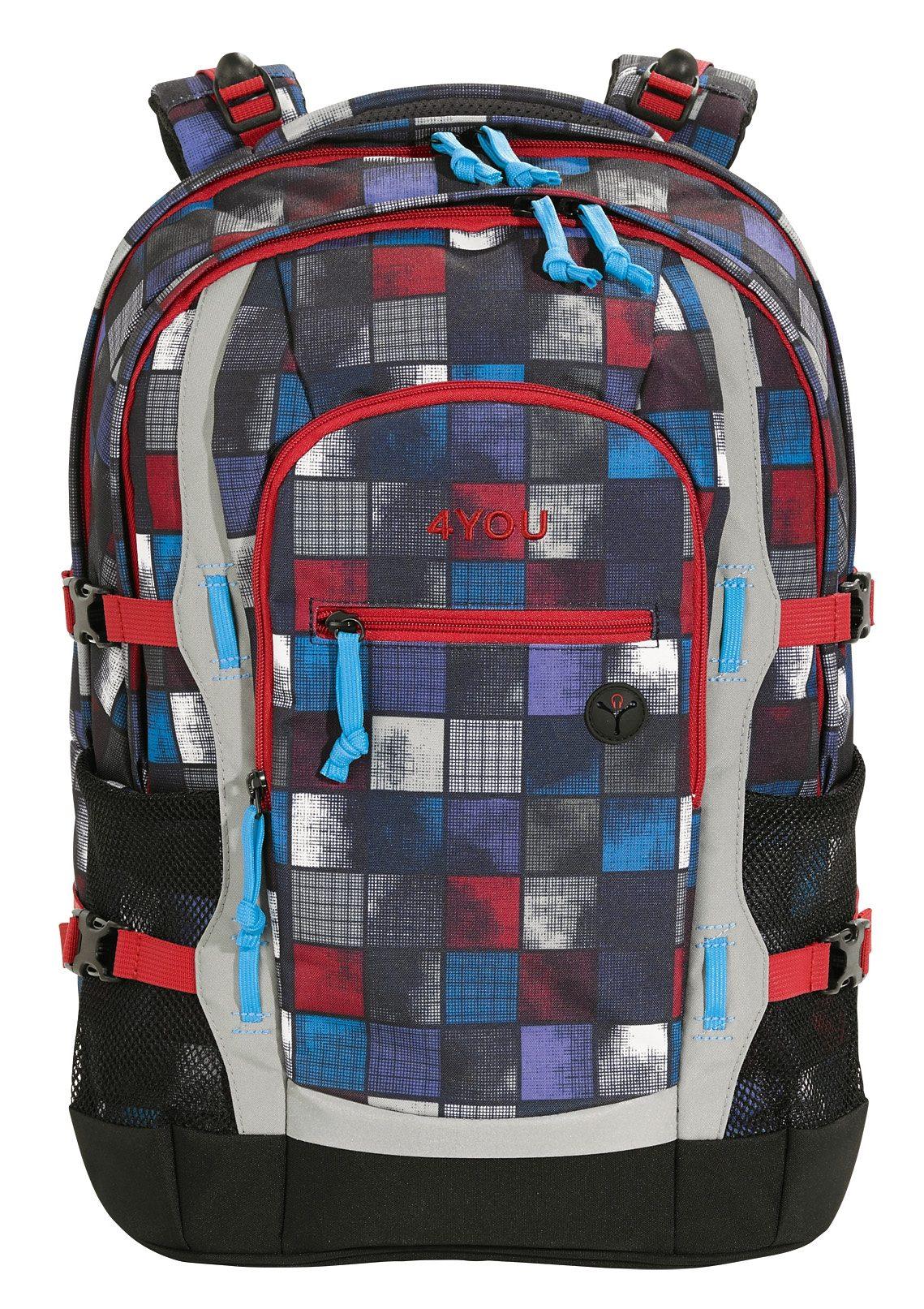4YOU Schulrucksack mit Laptop- und Tabletfach, Square Blue/Red, »Jump«
