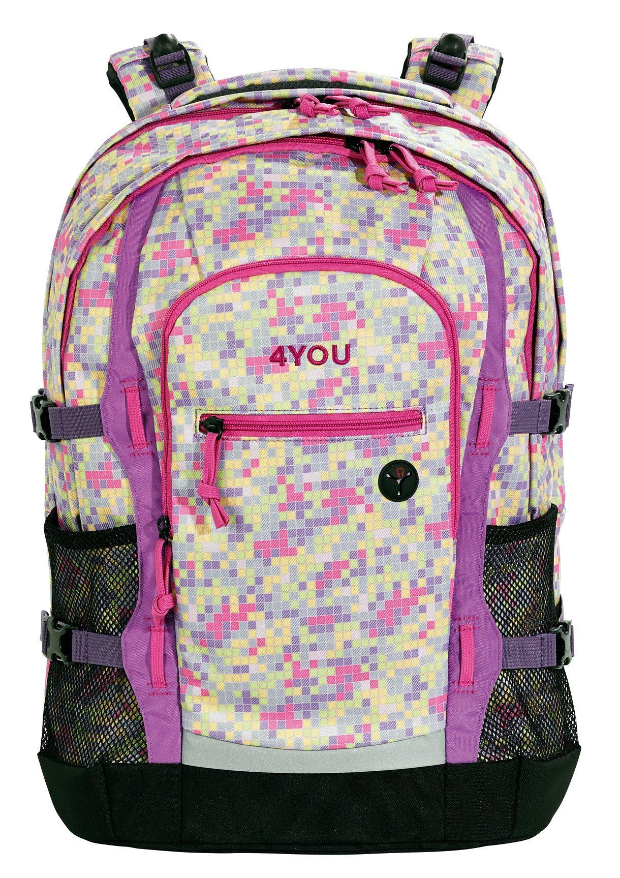 4YOU Schulrucksack mit Laptop- und Tabletfach, Pixel Sunset, »Jump«