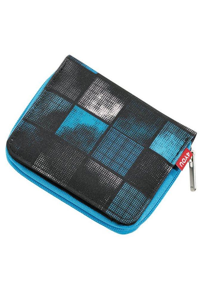 4YOU Geldbörse mit Reißverschluss, Square Blue/Grey, »Zipper Wallet« in Square Blue/Grey