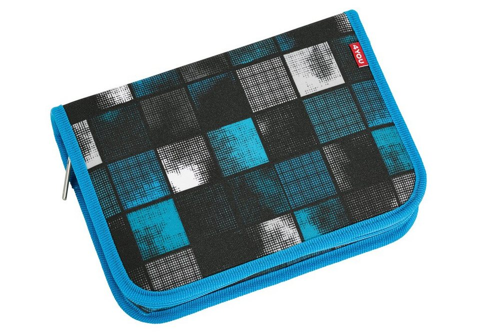 4YOU Mäppchen ungefüllt, Square Blue/Grey, »Etui XXL« in Square Blue/Grey