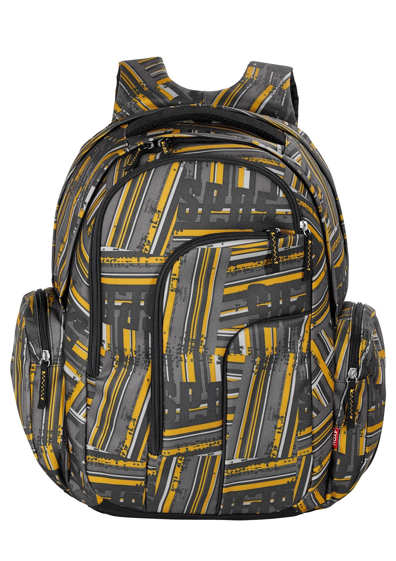4YOU Schulrucksack mit Laptopfach, Stripes, »Move«