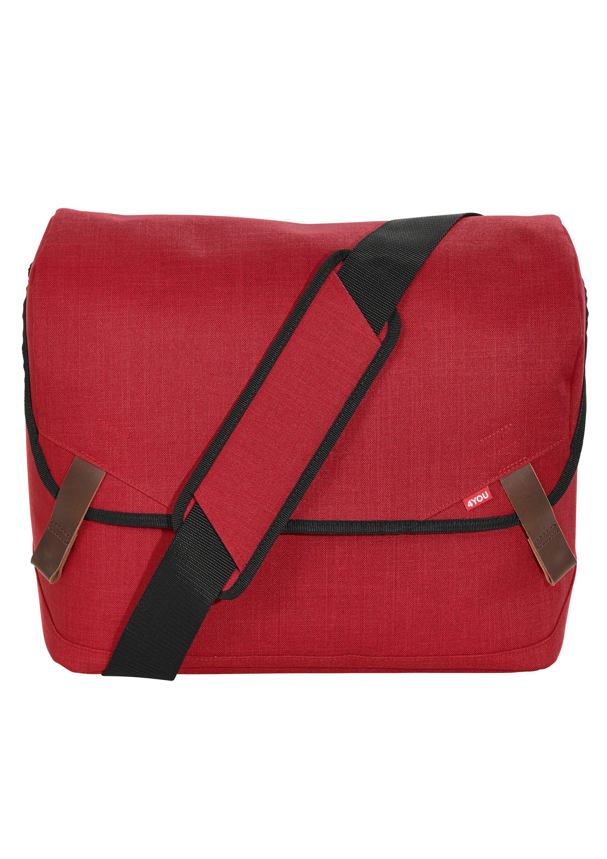 4YOU Umhängetasche mit Laptopfach, Soft Red, »Messengerbag«