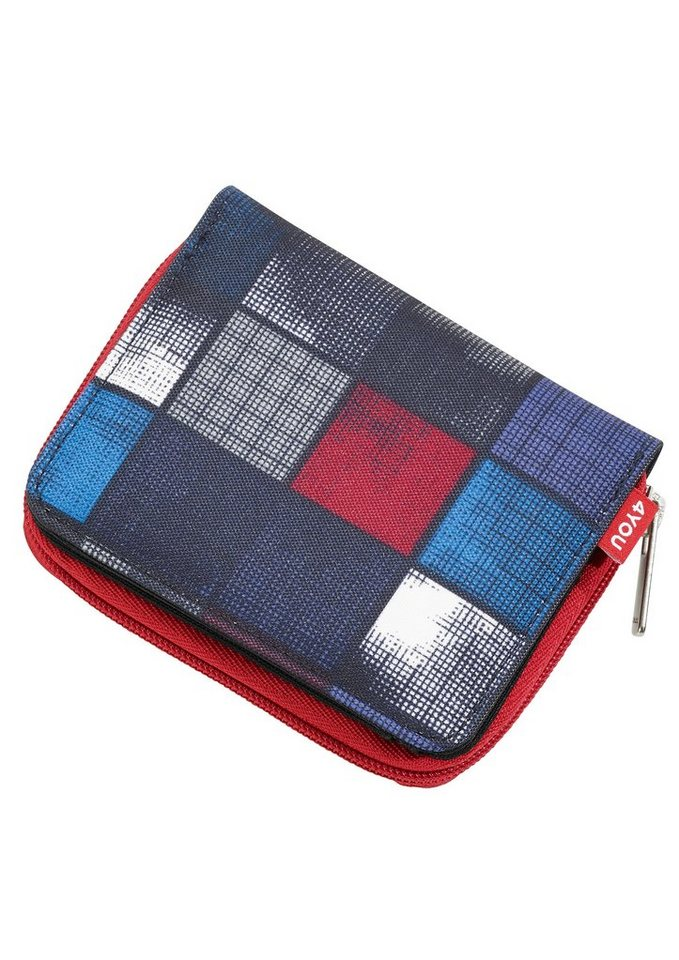4YOU Geldbörse mit Reißverschluss, Square Blue/Red, »Zipper Wallet« in Square Blue/Red
