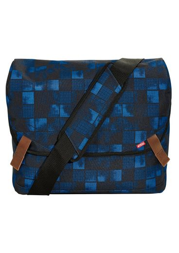 4YOU Umhängetasche »Messengerbag, Squares Blue«, mit Laptopfach
