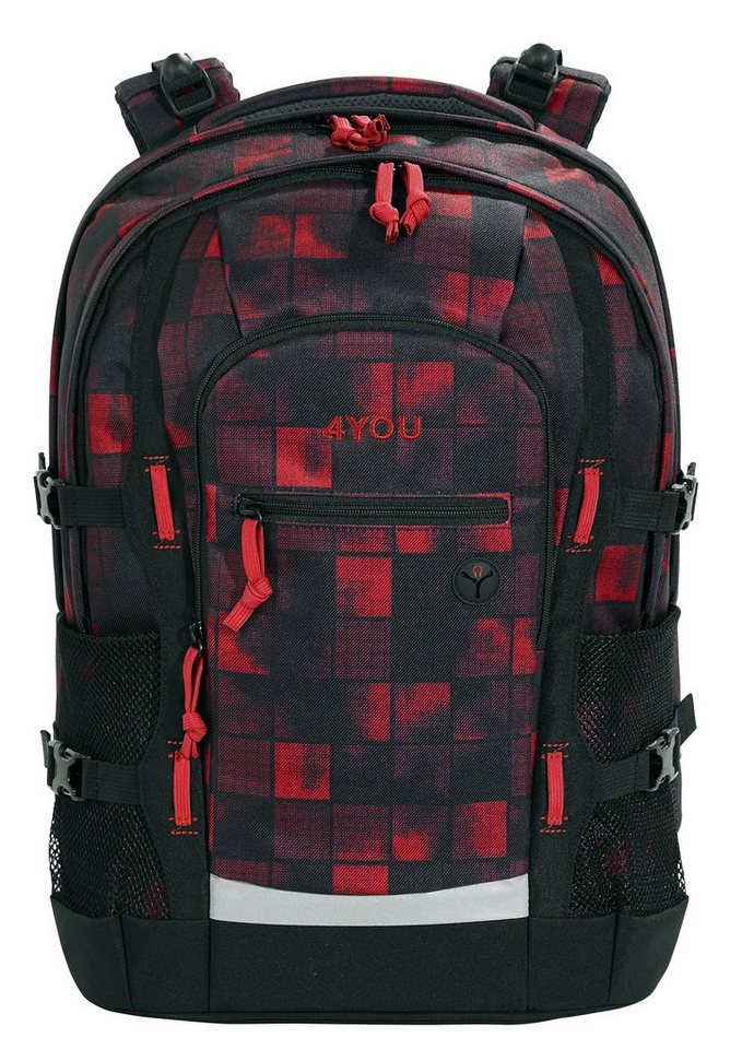 4you schulrucksack mit laptop und tabletfach squares red. Black Bedroom Furniture Sets. Home Design Ideas