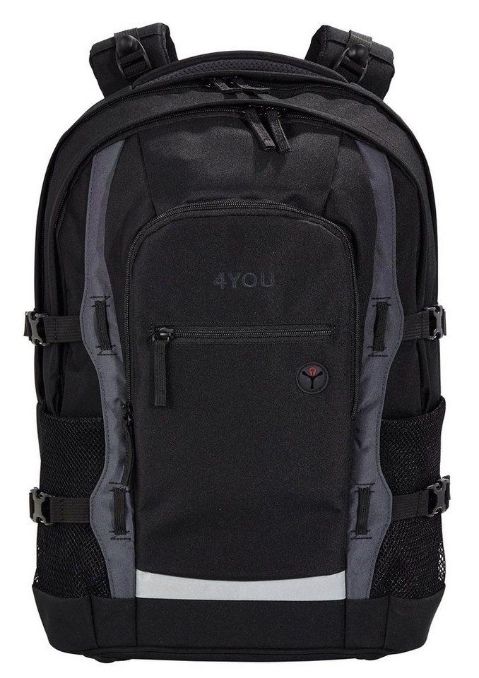 4you schulrucksack mit laptop und tabletfach black. Black Bedroom Furniture Sets. Home Design Ideas