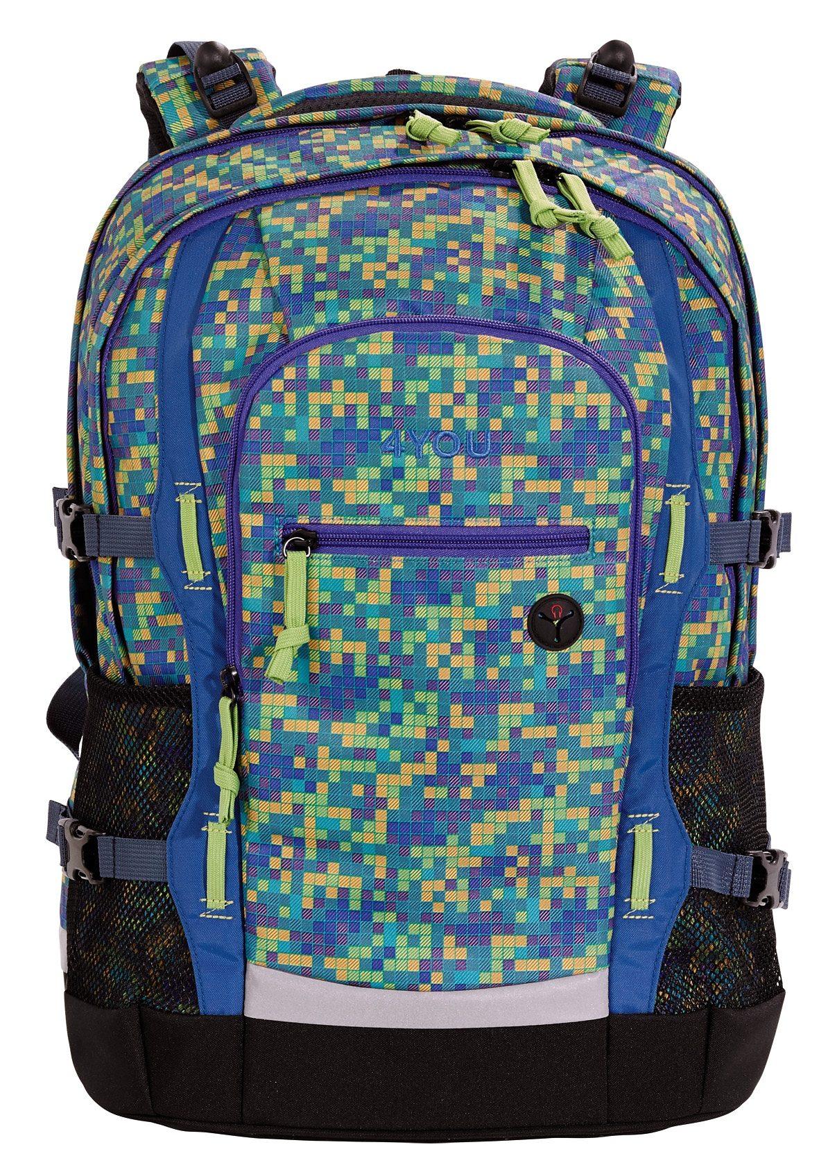 4YOU Schulrucksack mit Laptop- und Tabletfach, Pixel Smaragd, »Jump«