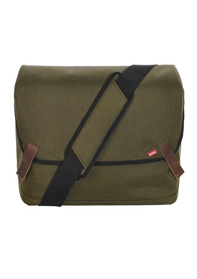 4YOU Umhängetasche mit Laptopfach, Olive, »Messengerbag« in Olive
