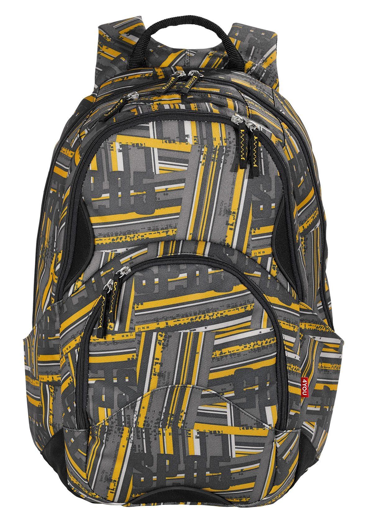4YOU Schulrucksack mit Laptopfach, Stripes, »Flow«