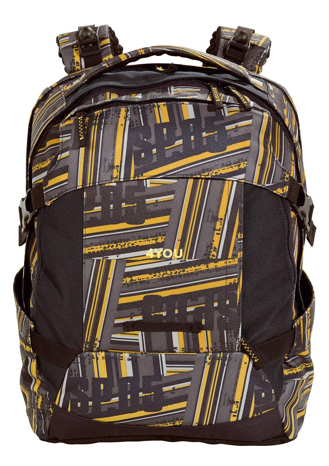 4YOU Schulrucksack mit Laptopfach, Stripes, »Tight Fit«