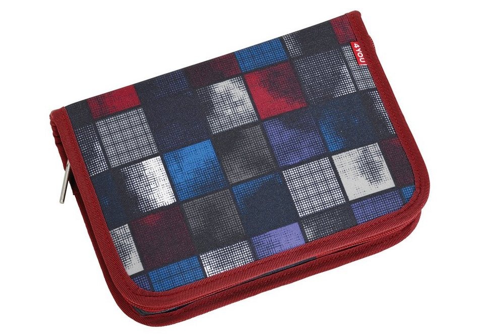 4YOU Mäppchen ungefüllt, Square Blue/Red, »Etui XXL« in Square Blue/Red