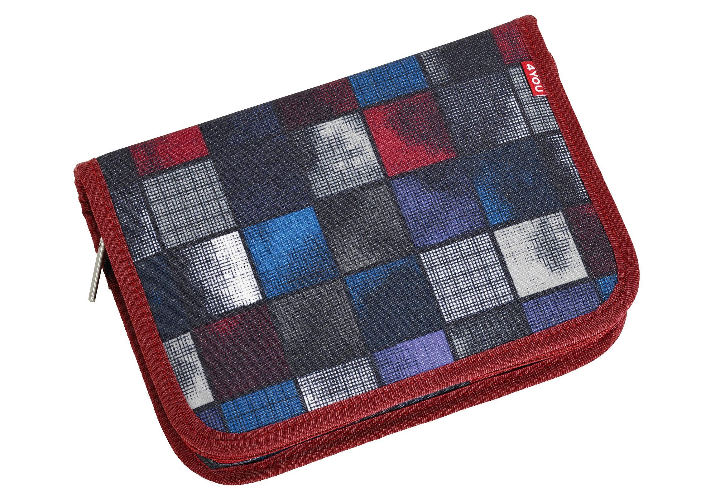 4YOU Mäppchen ungefüllt, Square Blue/Red, »Etui XXL«