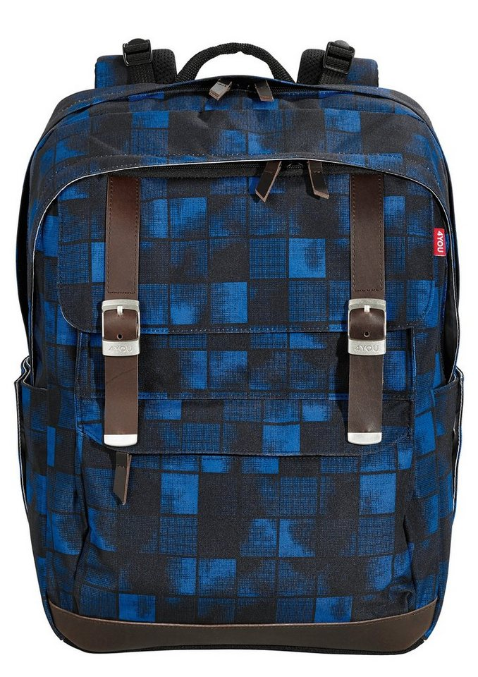 4YOU Schulrucksack, Squares Blue, »Legend« in Squares Blue