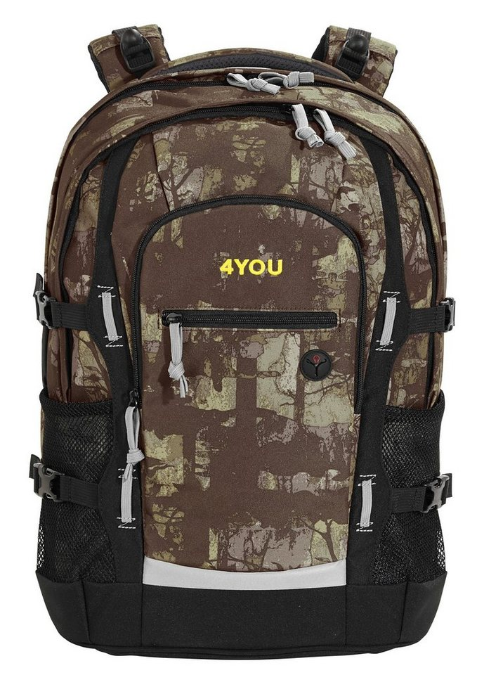 4YOU Schulrucksack mit Laptop- und Tabletfach, Camou Wood, »Jump« in Camou Wood