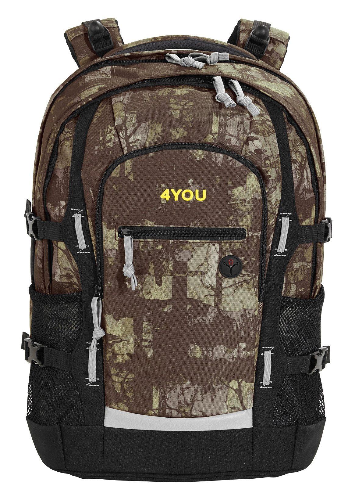 4YOU Schulrucksack mit Laptop- und Tabletfach, Camou Wood, »Jump«