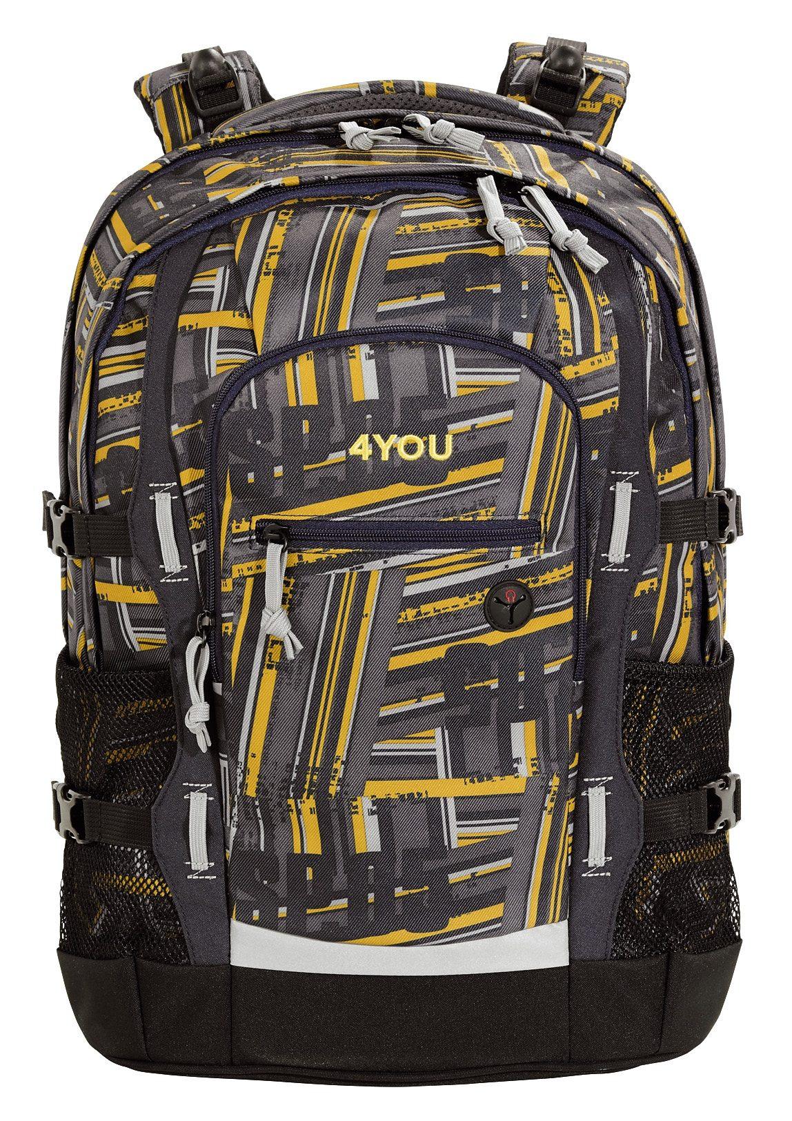 4YOU Schulrucksack mit Laptop- und Tabletfach, Stripes, »Jump«