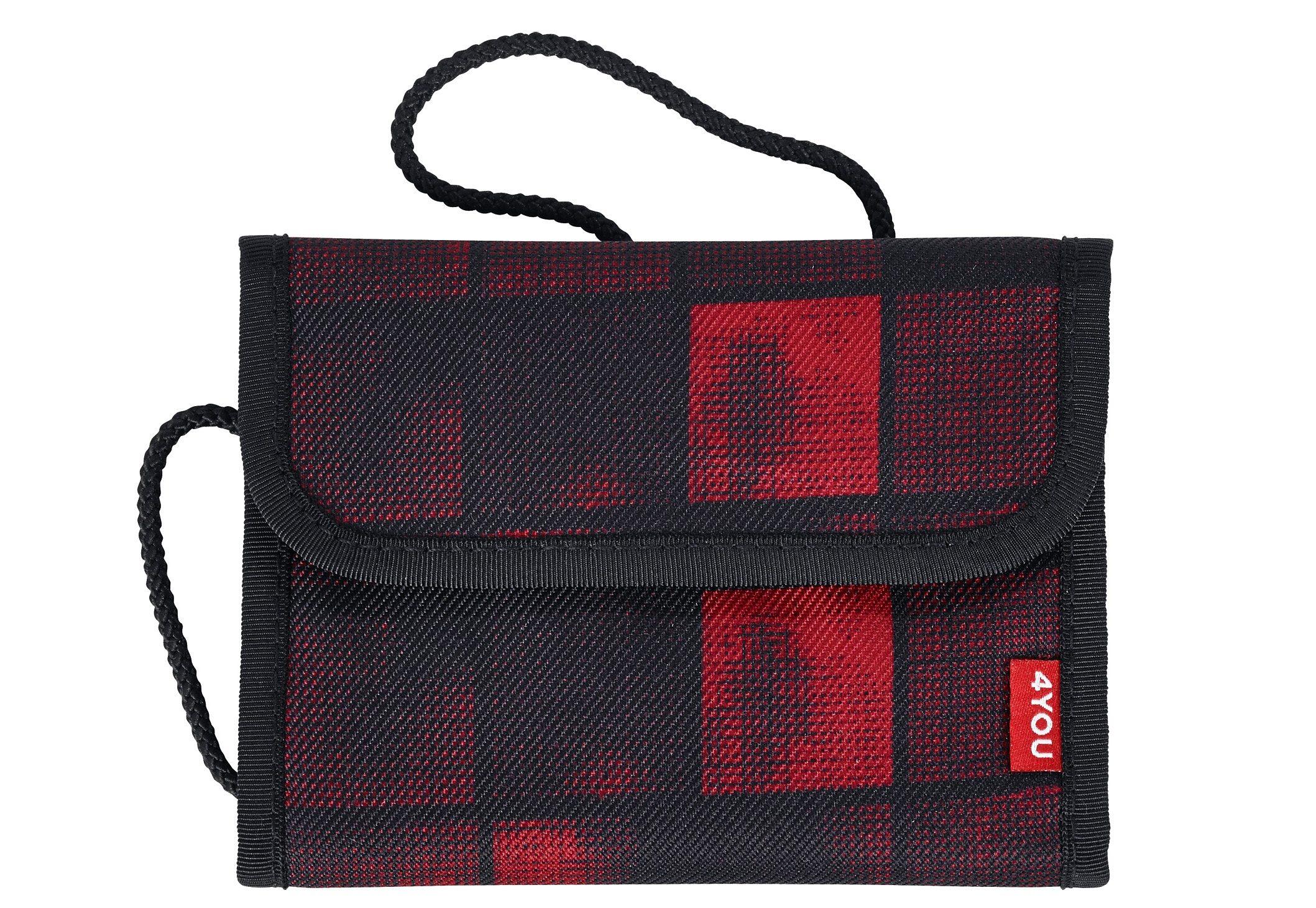 4YOU 2-in-1 - Geldbörse und Brustbeutel, Squares Red/Black, »Money Bag«
