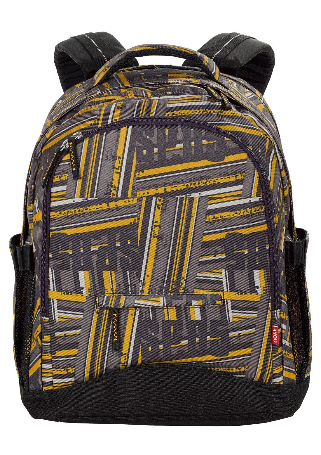 4YOU Schulrucksack mit Laptopfach, Stripes, »Compact«