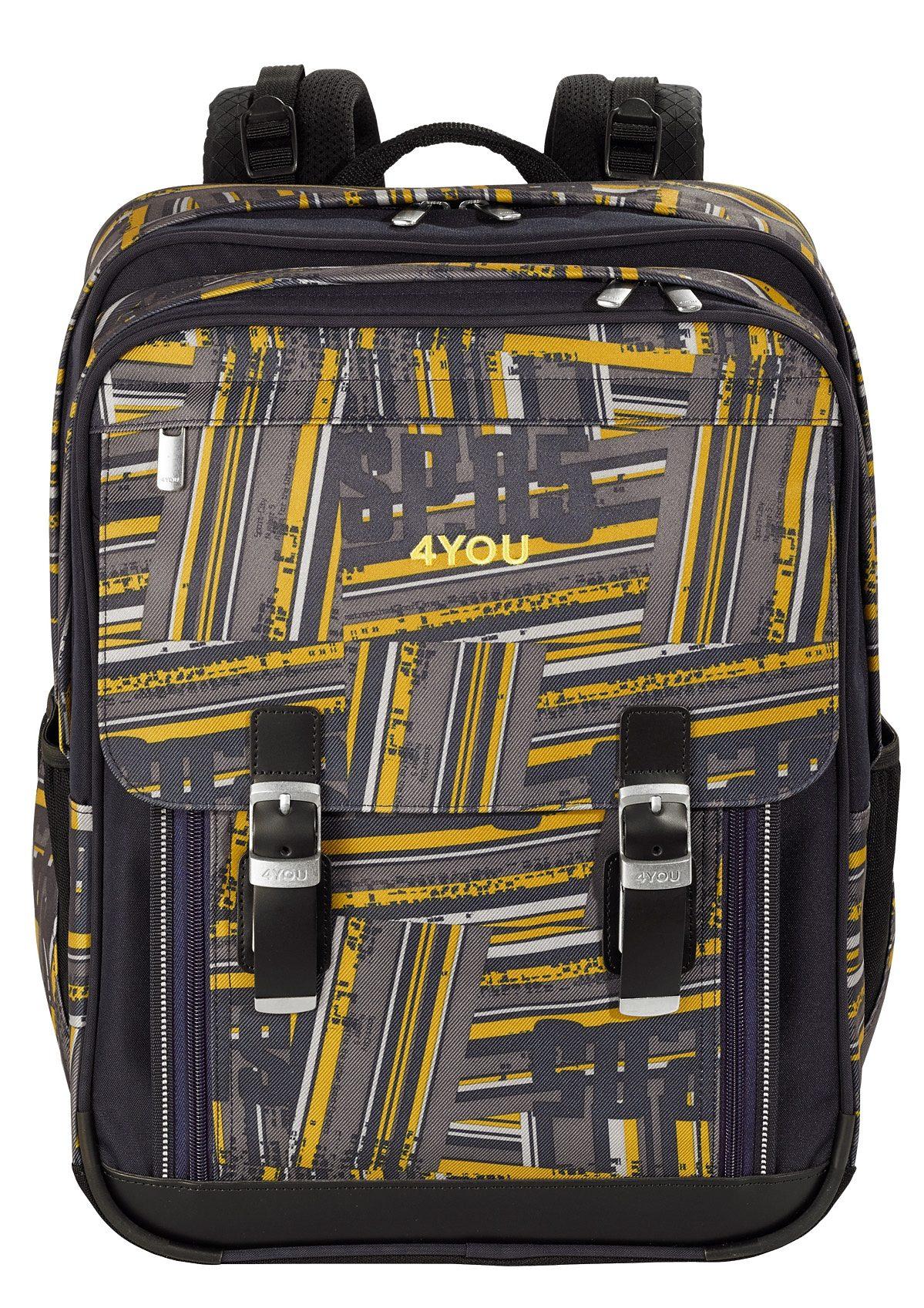 4YOU Schulrucksack mit Laptopfach, Stripes, »Classic Plus«