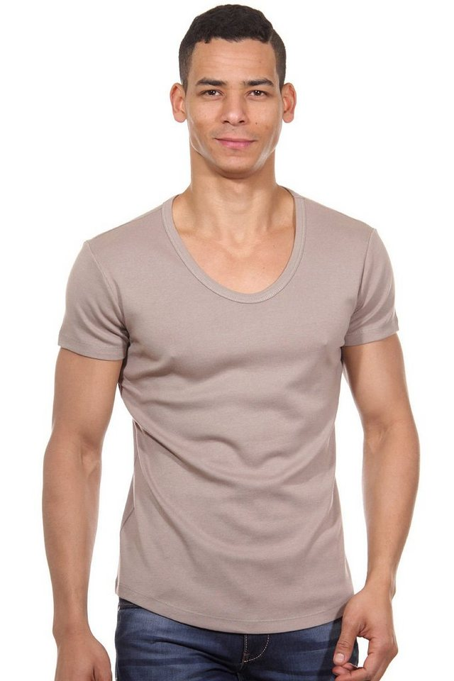 MCL T-Shirt Rundhals slim fit in camel