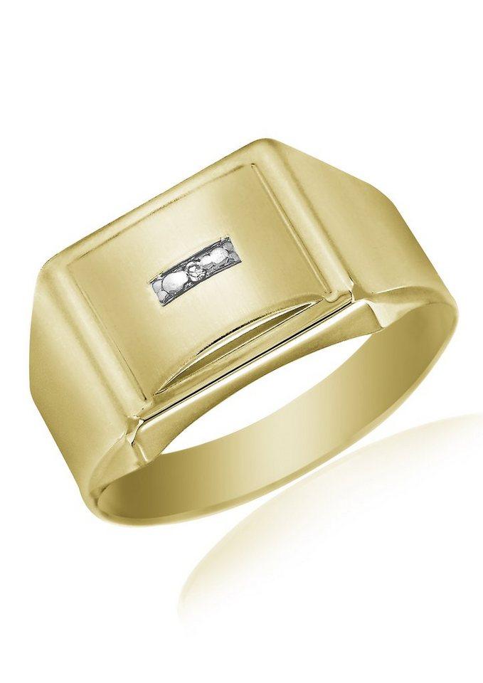 Herren Firetti Siegelring im klassischen Design mit Diamant gold | 04041633032972