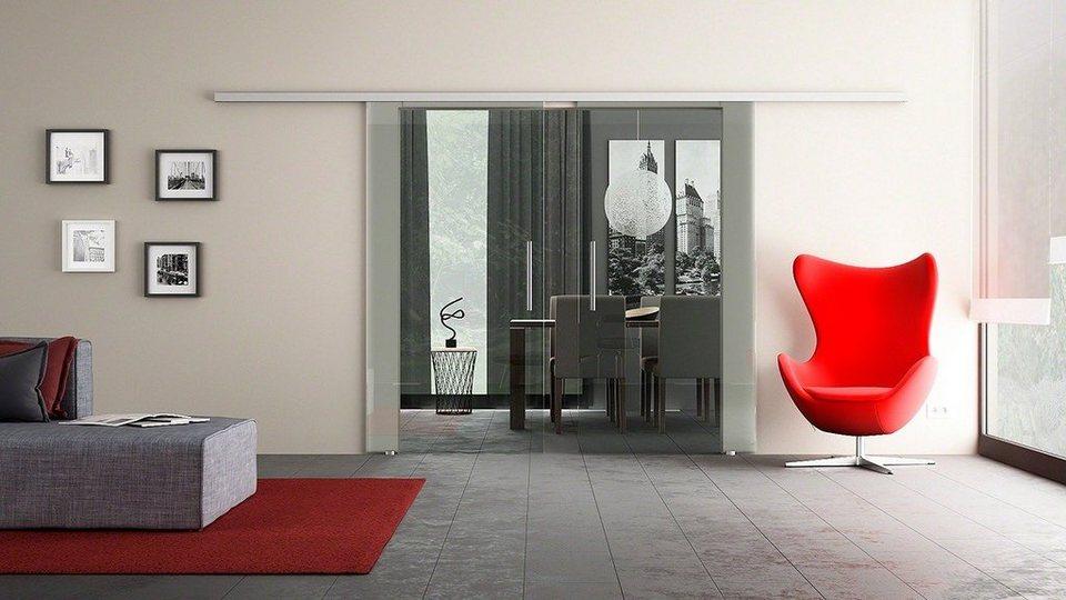 Doppel-Glasschiebetür »Dorma Agile 50 Alu EV1 Klarglas« mit Muschelgriff in weiß